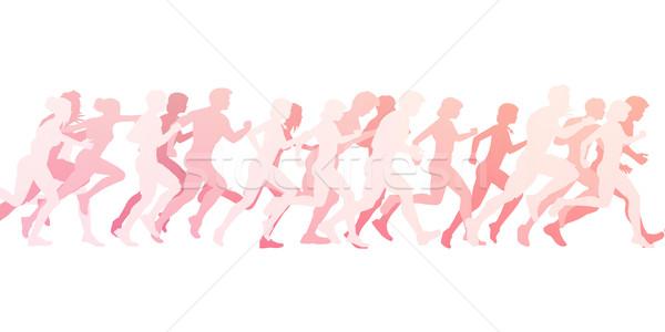 Maraton fut illusztráció fehér nők absztrakt Stock fotó © kentoh