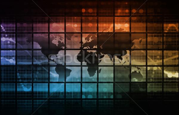 Technológia digitális absztrakt művészet internet biztonság Stock fotó © kentoh