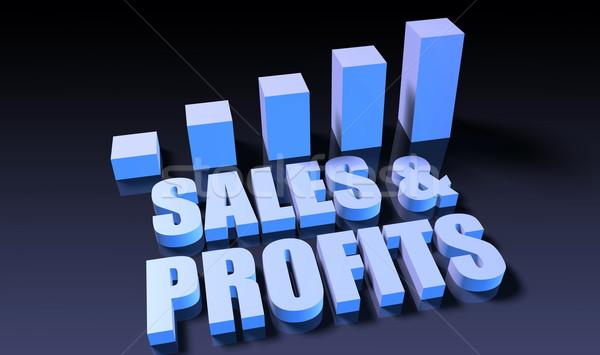 Eladó profit grafikon diagram 3D kék Stock fotó © kentoh