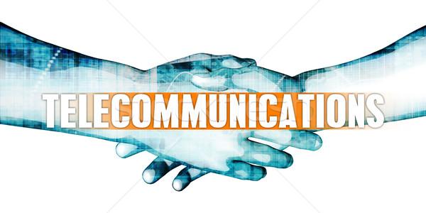 Telecomunicaciones empresarios apretón de manos blanco manos fondo Foto stock © kentoh