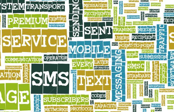 Stock fotó: Sms · mobil · szöveg · rövid · üzenet · szolgáltatás