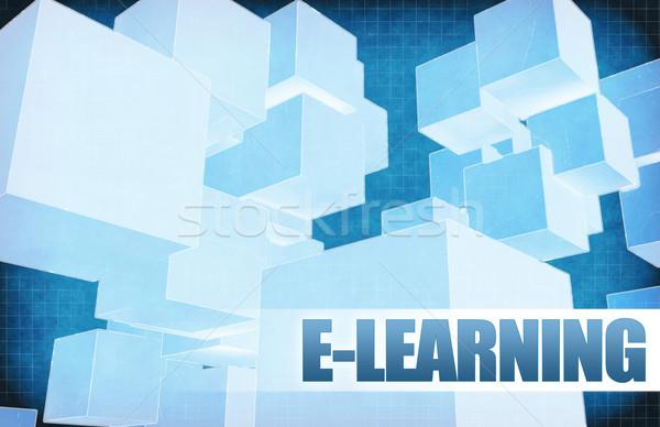 Online oktatás futurisztikus absztrakt bemutató csúszda háttér Stock fotó © kentoh