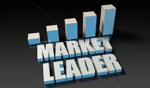 Foto stock: Mercado · líder · gráfico · traçar · 3D · azul