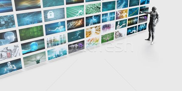 Férfi mutat videofal fal képernyő Stock fotó © kentoh