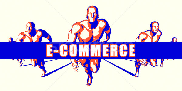 Ecommerce concorrenza illustrazione arte business sfondo Foto d'archivio © kentoh