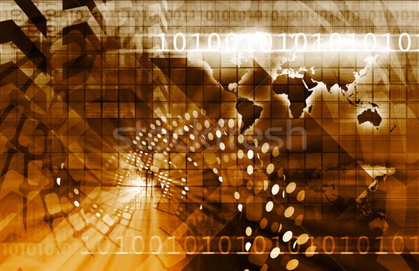 Telecommunicatie technologie infrastructuur computer kaart achtergrond Stockfoto © kentoh