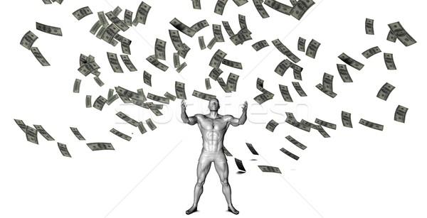 Stockfoto: Geld · vallen · hemel · man · beneden · achtergrond