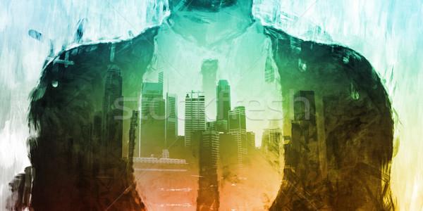 Biznesmen korporacyjnych Cityscape urban scene miasta budynków Zdjęcia stock © kentoh