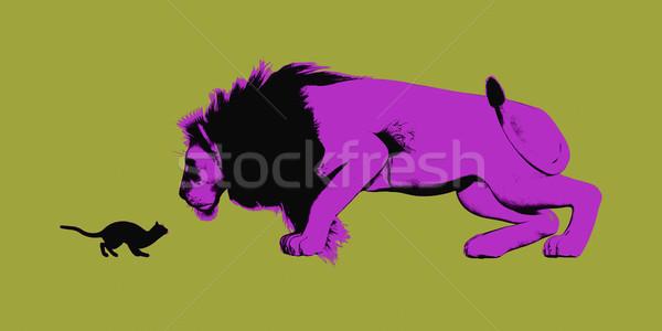 állhatatosság kicsi macska bámul oroszlán üzlet Stock fotó © kentoh