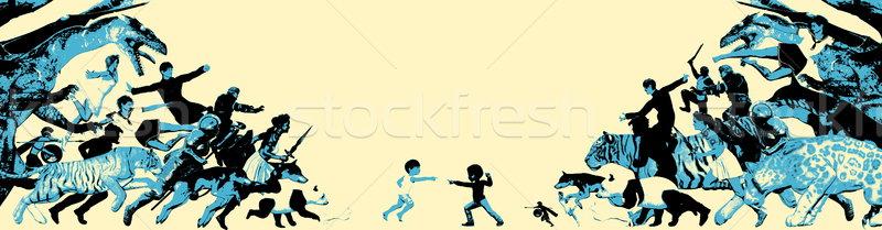 Combattimento bambini immaginario amici ragazza sfondo Foto d'archivio © kentoh