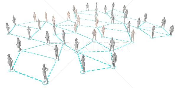 Kalabalık 3D hatları teknoloji Internet ağ Stok fotoğraf © kentoh