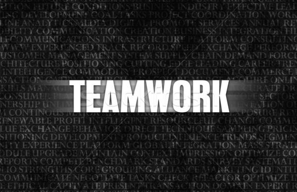 チームワーク ビジネス モチベーション 石の壁 壁 背景 ストックフォト © kentoh