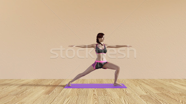 Yoga Class Warrior Pose Stock photo © kentoh