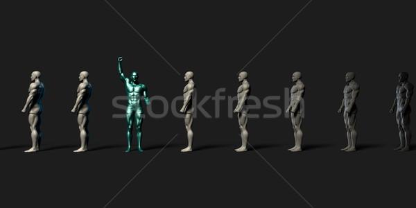 Motivado empleado pie fuera resumen multitud Foto stock © kentoh