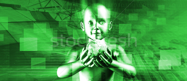 Kind halten Welt lächelnd Zukunft Welt Stock foto © kentoh