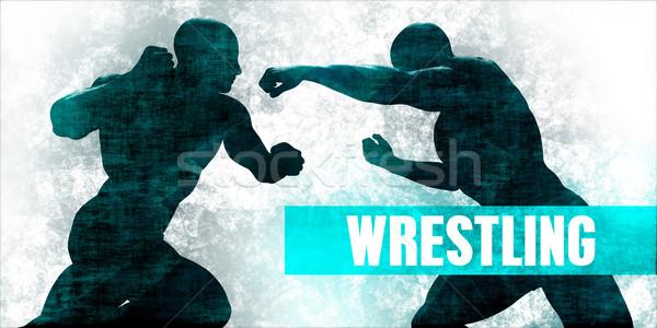 Bírkózás küzdősportok védelem képzés fitnessz kék Stock fotó © kentoh