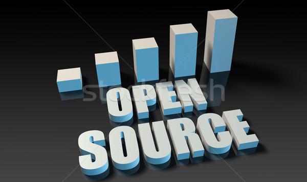 Nyitva forrás grafikon diagram 3D kék Stock fotó © kentoh