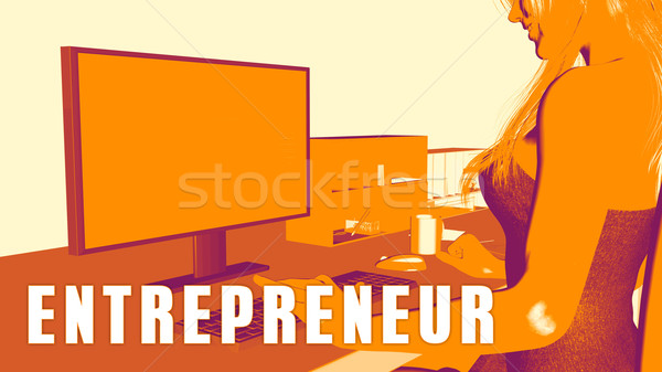 Entrepreneur femme regarder ordinateur classe formation Photo stock © kentoh