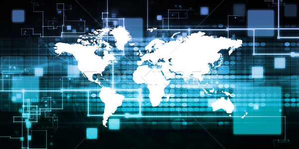 Global de negócios apresentação arte trabalhar mundo tecnologia Foto stock © kentoh