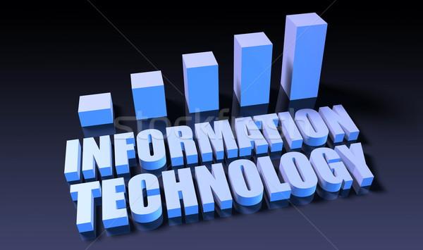Bilgi teknolojisi grafik grafik 3D mavi siyah Stok fotoğraf © kentoh