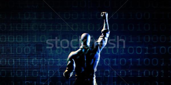 Man Pumping Fist on Technology Background Stock photo © kentoh