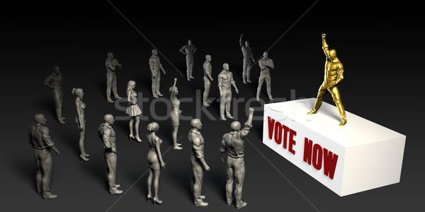 Oy şimdi kavga kadın kalabalık erkekler Stok fotoğraf © kentoh