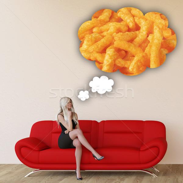 Kobieta pragnienie myślenia jedzenie żywności Zdjęcia stock © kentoh