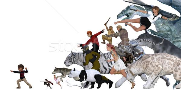Imaginación nino ejército amigos ninos ninos Foto stock © kentoh