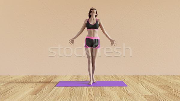 йога класс дыхание создают иллюстрация женщины Сток-фото © kentoh