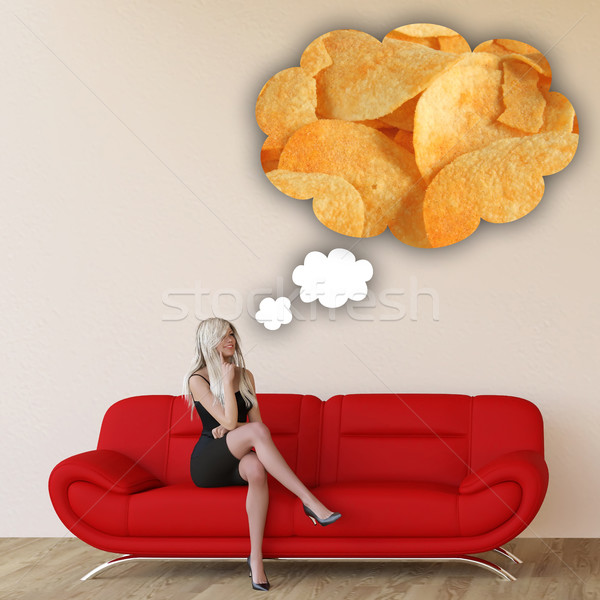 Woman Craving Potato Chips Stock photo © kentoh