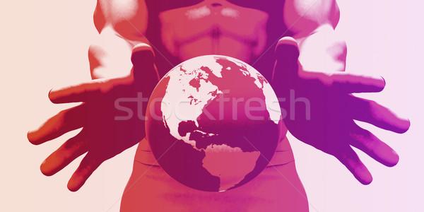 Globalización global empresa manos mundo Foto stock © kentoh