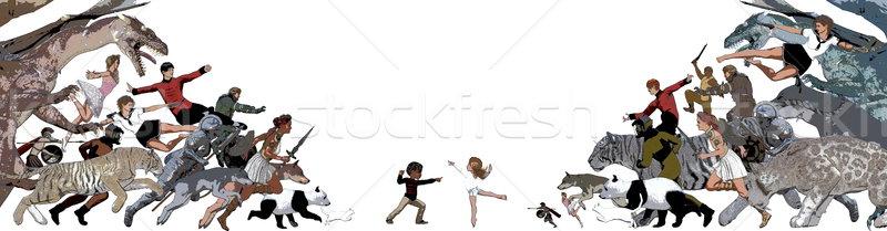 детство Воспоминания мнимый друга детей девушки Сток-фото © kentoh