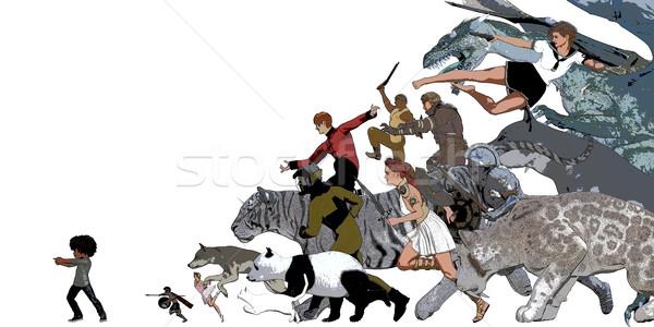 Denkbeeldig wereld fantasie vrienden kinderen Stockfoto © kentoh