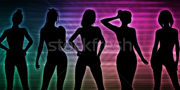 Plaj parti siluet kadın ayakta kadın Stok fotoğraf © kentoh