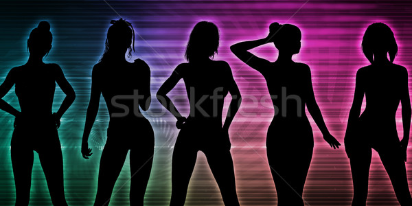 Strand partij silhouet vrouwen permanente vrouw Stockfoto © kentoh