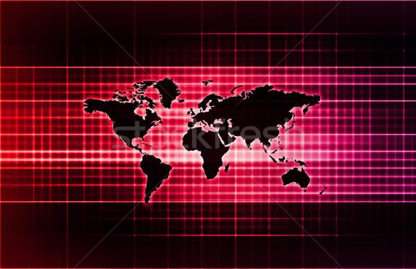 Mundial apoiar rede mapa fundo Foto stock © kentoh