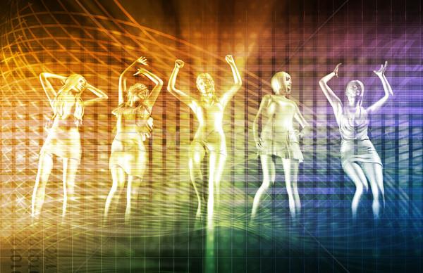 Strand rave partij disco dansen meisjes Stockfoto © kentoh