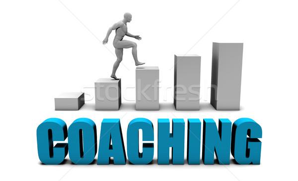 コーチング 3D 青 棒グラフ グラフ 教育 ストックフォト © kentoh