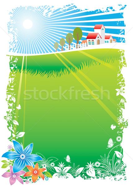 Vert village scénique vecteur téléchargement eps Photo stock © keofresh