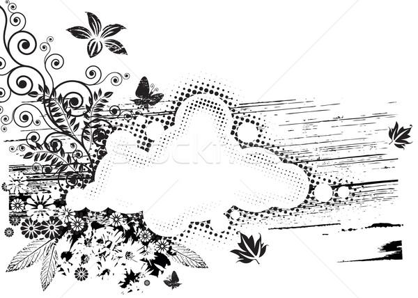 Grunge flore blanc noir vecteur téléchargement eps Photo stock © keofresh