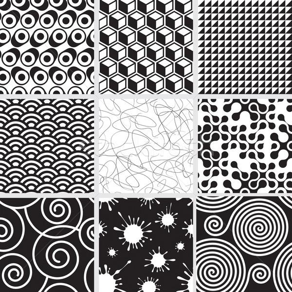 シームレス 黒白 セット 両方 サイド パターン ストックフォト © keofresh