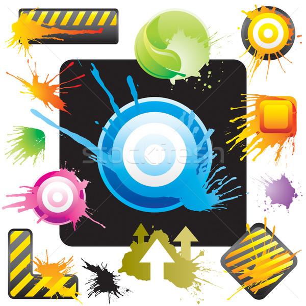 Splash signe grunge style symbole dessins Photo stock © keofresh