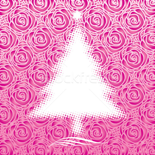 Roze christmas kerstboom ontwerp vector downloaden Stockfoto © keofresh