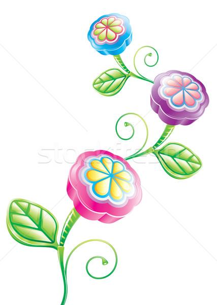 3D drôle fleur fleur vecteur téléchargement Photo stock © keofresh
