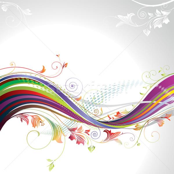 抽象的な フローラル 波 バナー 花 デザイン ストックフォト © keofresh