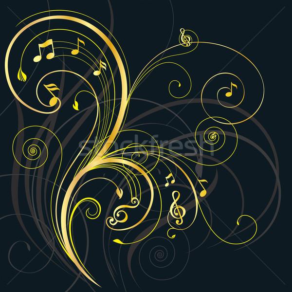 Musical arbre floral ornement vecteur Photo stock © keofresh