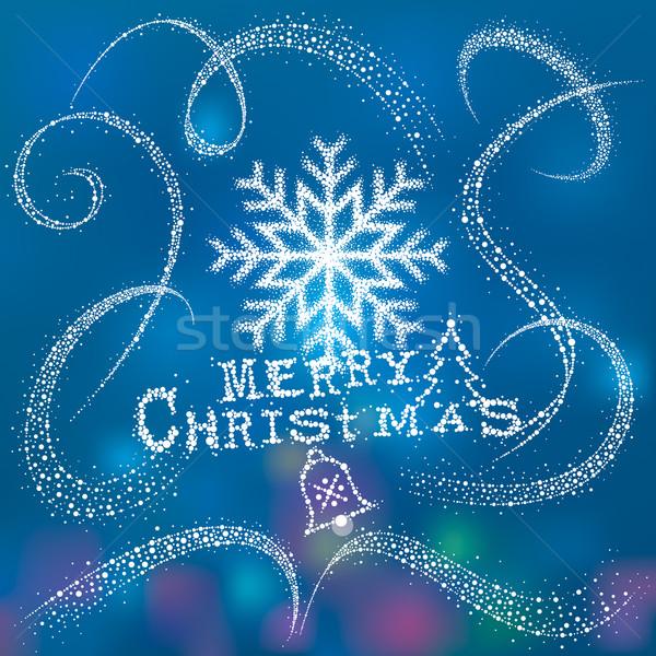 Magie Noël neige flocon de neige poussière queue Photo stock © keofresh