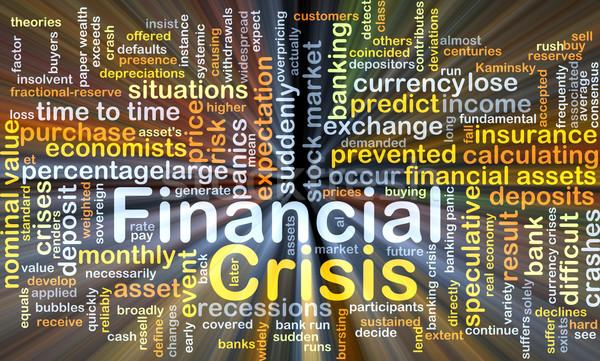 Pénzügyi válság izzó szófelhő illusztráció fény terv Stock fotó © kgtoh
