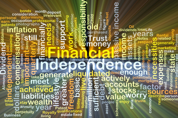 Financial independence background concept glowing Stock photo © kgtoh