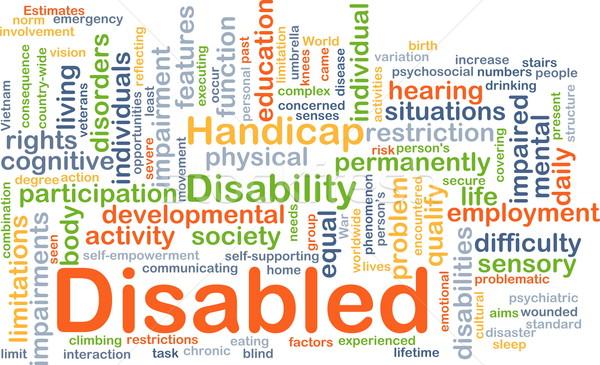 Сток-фото: инвалидов · фон · иллюстрация · жизни · облаке